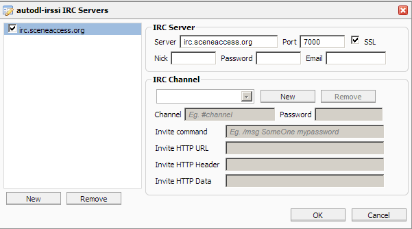 Sceneaccess config